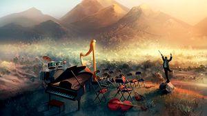 Превью обои дирижер, оркестр, скрипки, виолончель, рояль, музыкальные инструменты