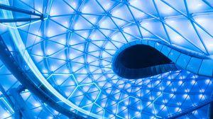 Превью обои дизайн, архитектура, шестиугольники, неон, подсветка