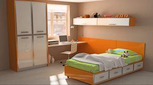 Превью обои дизайн, игрушки, интерьер, квартира, комната, компьютер, красочно, кровать, оранжевый, стиль, стол, шкаф, ярко