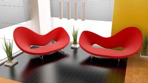 Превью обои дизайн, интерьер, квартира, комната, красное, кресло, растения, стиль, формы