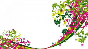 Превью обои дизайн, вектор, цветы, линии, белый фон