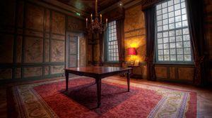 Превью обои дизайн, замок, интерьер, квартира, ковер, комната, коричневый, окно, стиль, стол