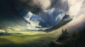 Превью обои долина, поле, облака, пейзаж, арт