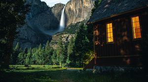 Превью обои дом, горы, пейзаж, деревья, небо