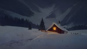 Превью обои дом, изба, ночь, снег, арт