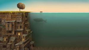 Превью обои дом, многоэтажный, под водой, кит, импровизация, дно, дерево