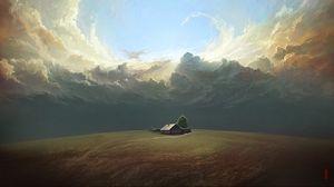 Превью обои дом, поле, облака, арт, пейзаж