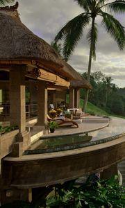 Превью обои дом, рай, красиво, пальмы, балкон, природа