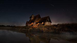 Превью обои дом, река, берег, ночь, темный