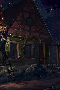 Превью обои дом, сказка, арт, фонарь, ночь