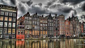Превью обои дома, голландия, река, здания, hdr