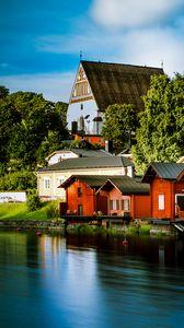 Превью обои домики, архитектура, река, пристань