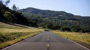 Превью обои дорога, деревья, холм, природа, пейзаж