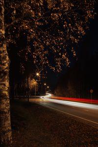 Превью обои дорога, поворот, изгиб, свет, длинная выдержка, темный