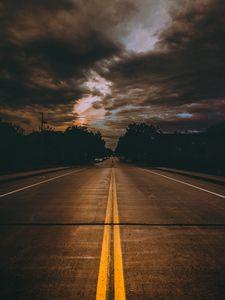 Превью обои дорога, разметка, пасмурно, облака, миннеаполис, сша