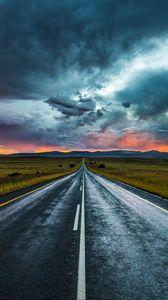 Превью обои дорога, разметка, вечер, облака, горизонт