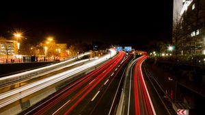 Превью обои дорога, свет, длинная выдержка, темный, ночь