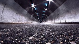Превью обои дорога, туннель, ночь