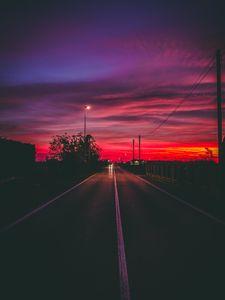 Превью обои дорога, закат, горизонт, разметка