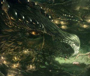 Превью обои дракон, девочка, лес, арт