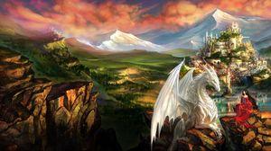 Превью обои дракон, девушка, эльф, дружба, горы, замок