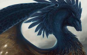 Превью обои дракон, фэнтези, арт, перья
