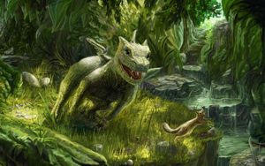 Превью обои дракон, маленький, белка, игра, зелень, природа