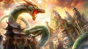 Превью обои дракон, пасть, дома, небо, лучи