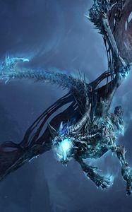 Превью обои дракон, полет, пасть, скалы, ночь