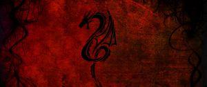 Превью обои дракон, рисунок, красный, черный