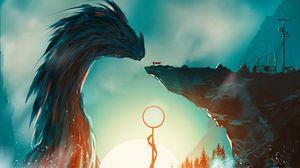 Превью обои дракон, рыцарь, меч, фэнтези, арт