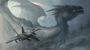 Превью обои дракон, самолет, радуга, ракеты, небо