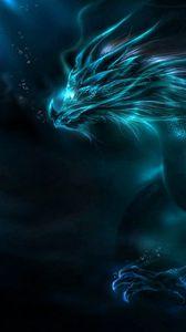 Превью обои дракон, узор, неон, тень
