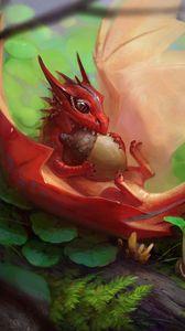Превью обои дракон, желудь, арт, фантастический, еда