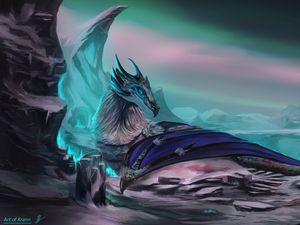 Превью обои дракон, животное, скалы, фэнтези, арт