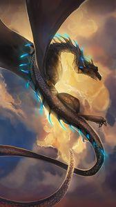 Превью обои дракон, змей, фэнтези, арт
