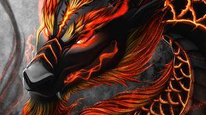 Превью обои дракон, змей, существо, фантастика, арт