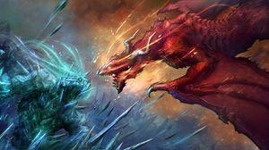 Превью обои драконы, арт, битва, фантастика