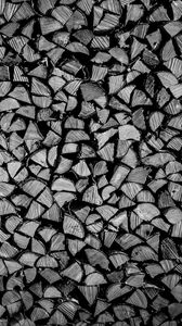 Превью обои дрова, бревна, дерево, текстура, черно-белый