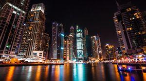 Превью обои дубай, объединенные арабские эмираты, небоскребы, ночь