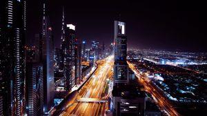 Превью обои дубай, объединенные арабские эмираты, ночной город