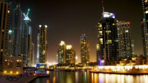 Превью обои дубай, море, берег, здания, небоскребы, ночь