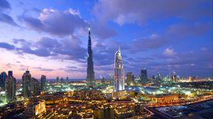 Превью обои дубай, здания, вид сверху, панорама, огни города