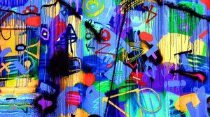 Превью обои дверь, граффити, яркий, разноцветный