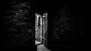 Превью обои дверь, каменный, чб