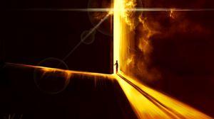 Превью обои дверь, силуэт, сияние, свет, арт