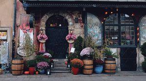 Превью обои дверь, цветы, оформление