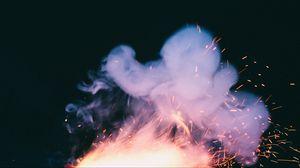 Превью обои дым, искры, темный фон