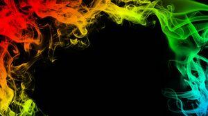 Превью обои дым, разноцветный, цветной дым, рамка