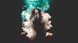 Превью обои дым, рука, лицо, темный